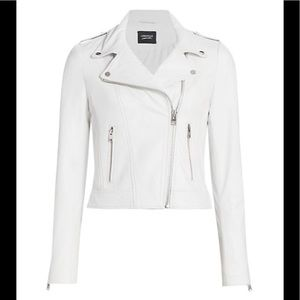 Lamarque Donna White Leather Moto Biker Jacket M